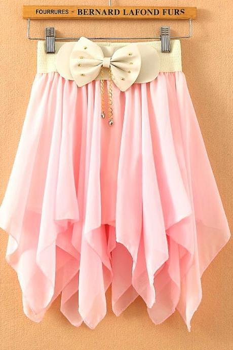 A 080112 Solid color chiffon pleated skirts irregular