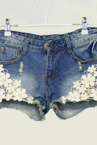 Pearl lace flower broken copper jean shorts826