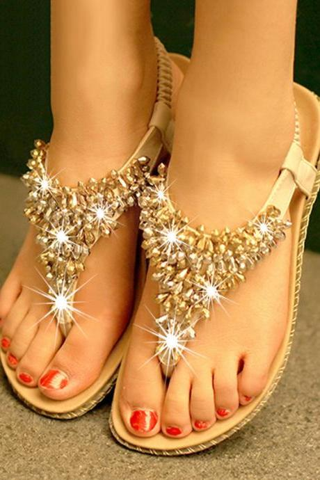 Simple fashion color matching diamond beads flat sandalsAAA
