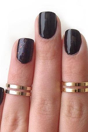 Love Double Knuckle Rings in Gold - set of 2