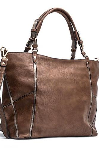 Brown Leather Tote, Taupe Purse, Handbag, coffee color, leather purse, hobo, Shopper, Laptop Bag