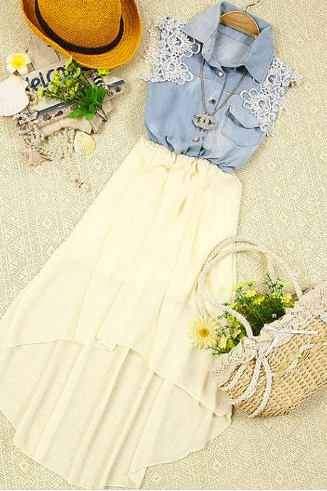 Chiffon dress sleeveless denim vest 070309