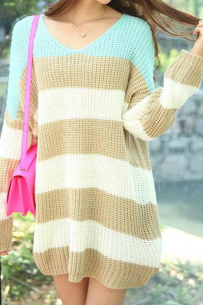 Fashion spell color stripe loose sweaterAA L 080504