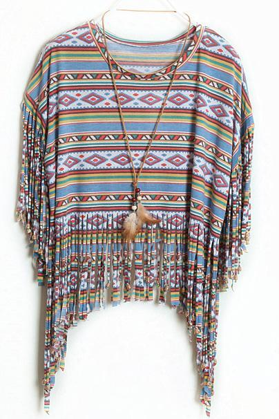 Bohemian Tribal Print Fringe Top with Round neckline