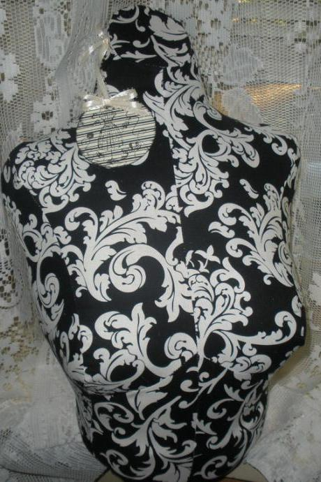 Boutique Dress form designs to the waist. Life size torso great for store front or home decor. Paris black damask Bust form.