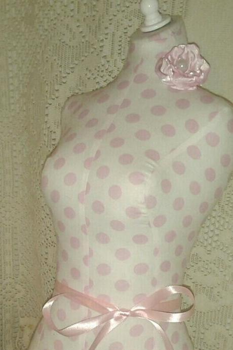 Boutique Dress form designs jewelry display, 22' torso great for store front display or home decor. Pink polka dots print.
