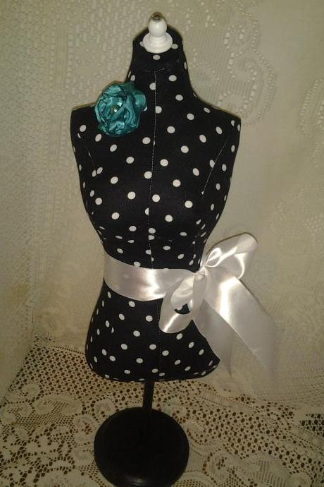 Boutique Dress form designs jewelry display, 34' torso great for store front display or home decor. White and black polka dot print.