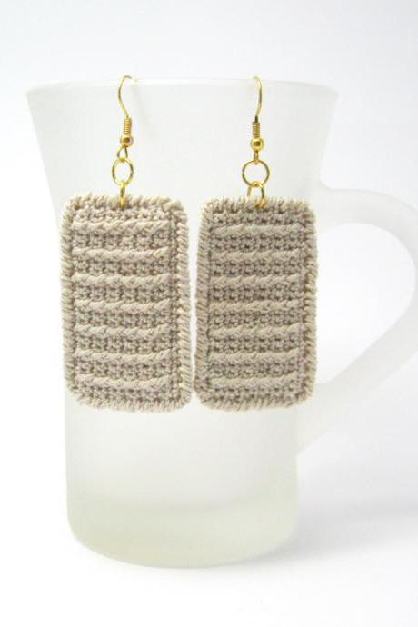 PDF pattern - Rectangle Earrings Crochet Fabric Pattern Crochet Earrings Jewelry Crochet Tutorial - P0019