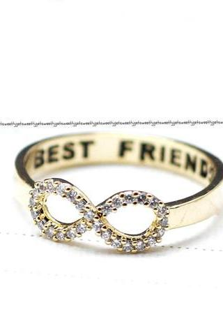 BEST FRIEND Infinity Ring detailed with CZ in gold