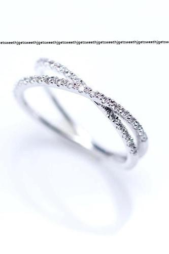 Double Wrapped Diamante Stacking Ring in silver
