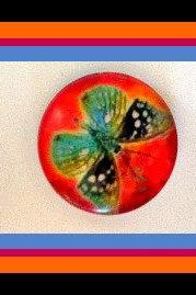 Magnets - Paintbox Butterflies - Magnet Set of 3 --1 Inch Domed Glass Circles