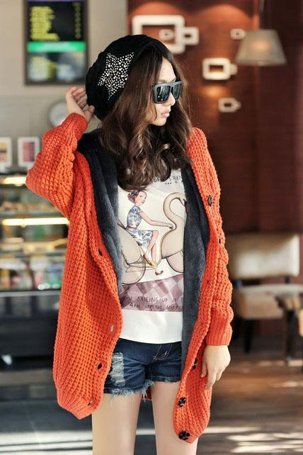 Long Sleeve Knitting Wool Sweater Coat