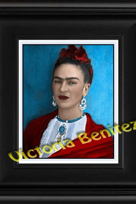 FRIDA KAHLO day of the dead BELLA digital oil painting design 8' X 10' photo print