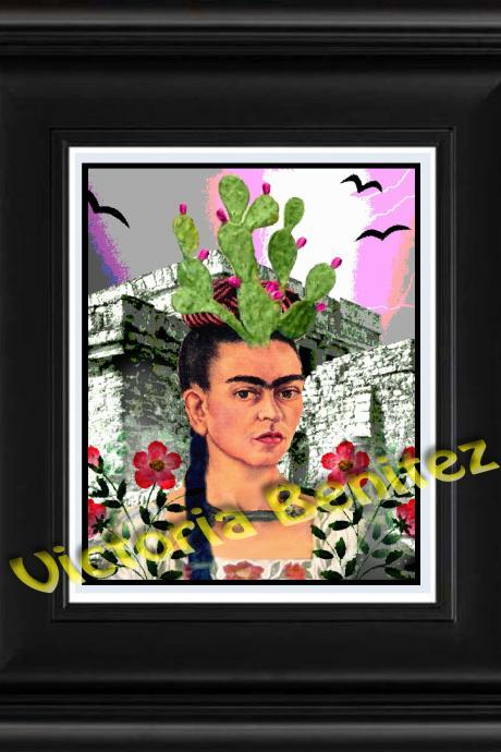 FRIDA KAHLO day of the dead AZTEC digital oil painting design 8' X 10' photo print
