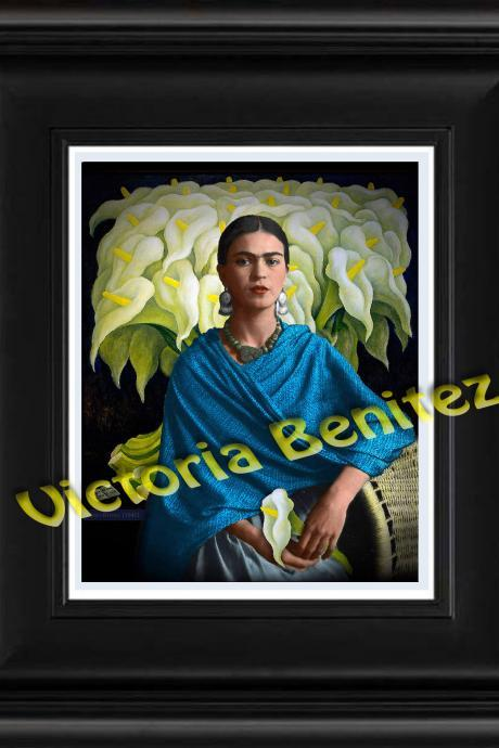 FRIDA KAHLO day of the dead BLUE REBOZO digital oil painting design 8' X 10' photo print