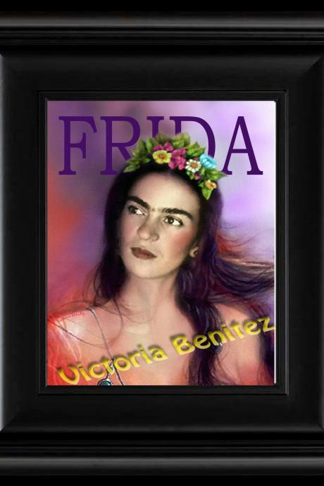 FRIDA KAHLO day of the dead IN PINK digital oil painting design 8' X 10' photo print
