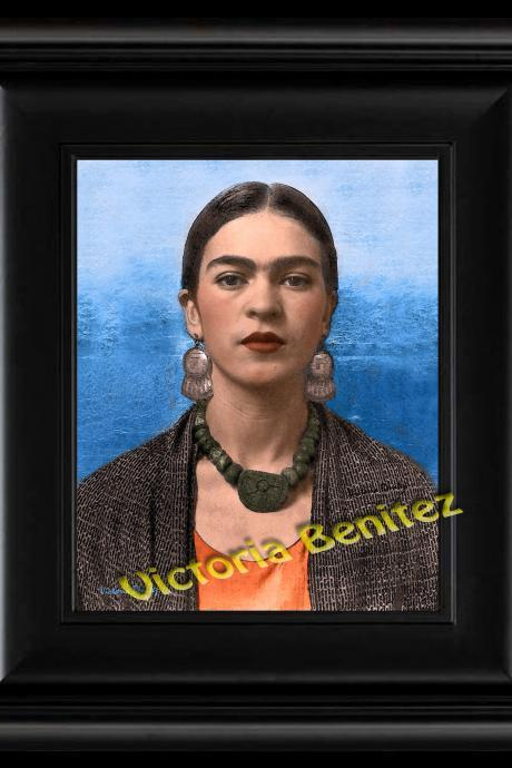 FRIDA KAHLO day of the dead REBOZO DE BOLITA digital oil painting design 8' X 10' photo print