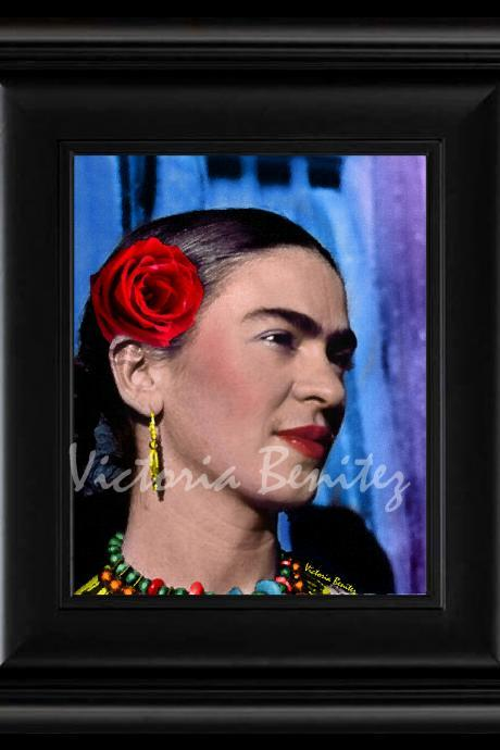 FRIDA KAHLO day of the dead THE RED ROSE digital oil painting design 8' X 10' photo print