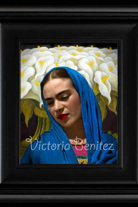 FRIDA KAHLO day of the dead CALLA LILIES IN BLUE SHALL digital oil painting design 8' X 10' photo print