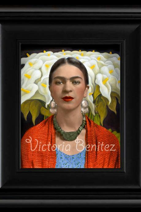 FRIDA KAHLO day of the dead CALLA LILIES IN naranja SHALL digital oil painting design 8' X 10' photo print