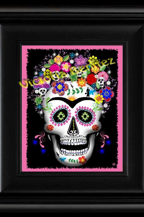 "FRIDA KAHLO day of the dead PINK SUGAR SKULL digital oil painting design 8"" X 10"" photo print"