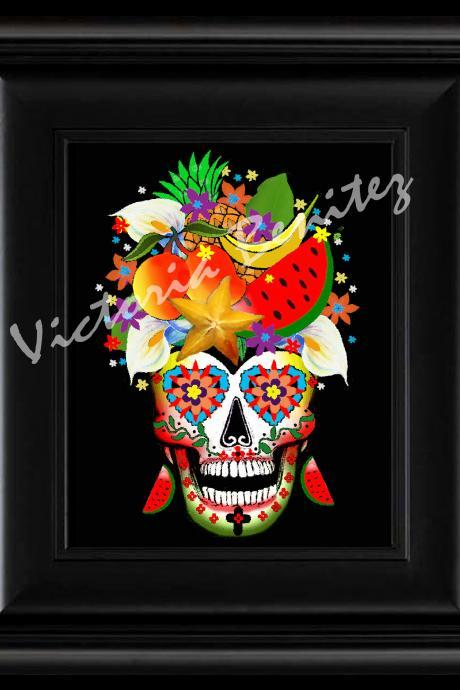 FRIDA KAHLO day of the dead RIO CALLA LILIES SUGAR SKULL digital oil painting design 8' X 10' photo print