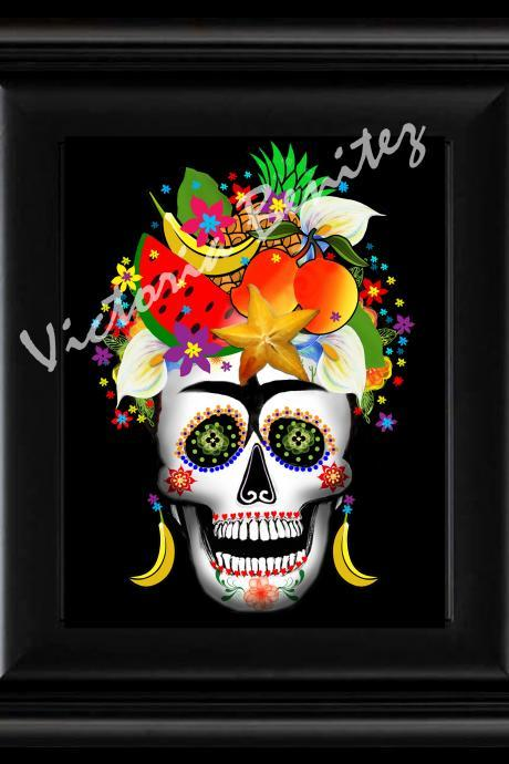 FRIDA KAHLO day of the dead RIO BANANAS SUGAR SKULL digital oil painting design 8' X 10' photo print