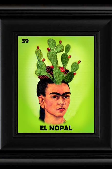 FRIDA KAHLO day of the dead LA LOTERIA EL NOPAL CARD digital oil painting design 8' X 10' photo print