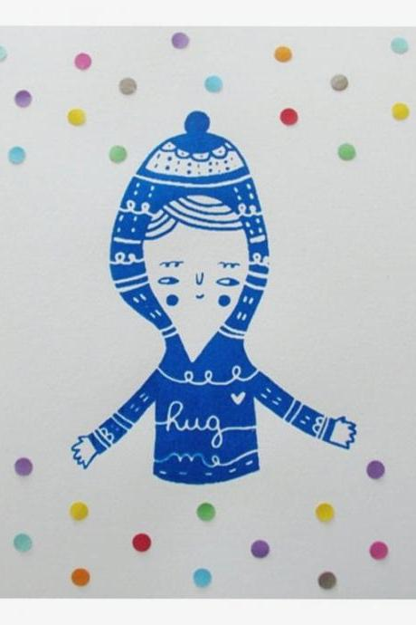 original mixed media screen printed illustration / collage Blue with paper details OOAK HUG ME