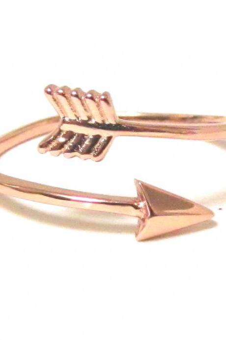Arrow Ring - Rose Gold over Sterling Silver Arrow Ring in size 7