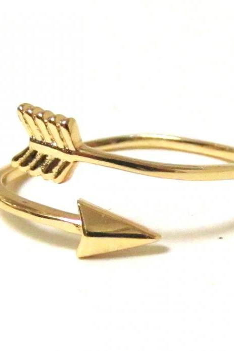 Arrow Ring - 14 Kt Gold over Sterling Silver Arrow Ring in size 7