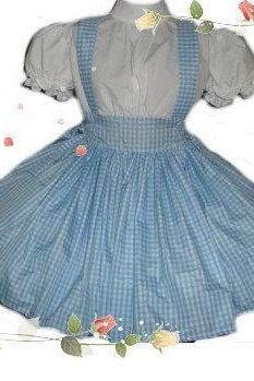 Dorothy Wizard of Oz Costume Blue and White Gingham Dress Womens Storybook Fairytale Halloween Costume Custom Size Made to Measure Plus Size