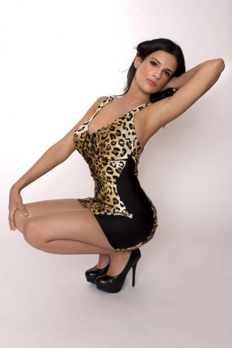 Pin up Leopard Dress Pinup Rockabilly Wiggle Minidress Sexy Leopard Print Faux Fur Custom Size