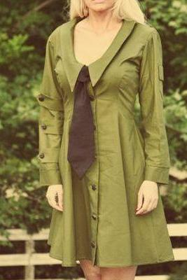 Dieselpunk Army Dress Retro Aline Military Green Dress and Black Tie Steampunk Scout Dress Custom Size Made to Measure Plus Size