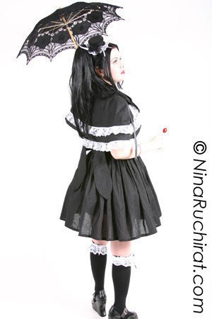Sweet Gothic Lolita Dress and Capelet Goth Loli Cotton Dress Short Cape Black with White Lace Custom Size Plus Size Cosplay Costume