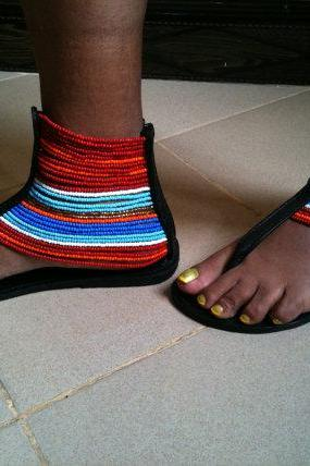 Worldwide Free Shipping - Gorgeous costumisable masai african handmade sandals
