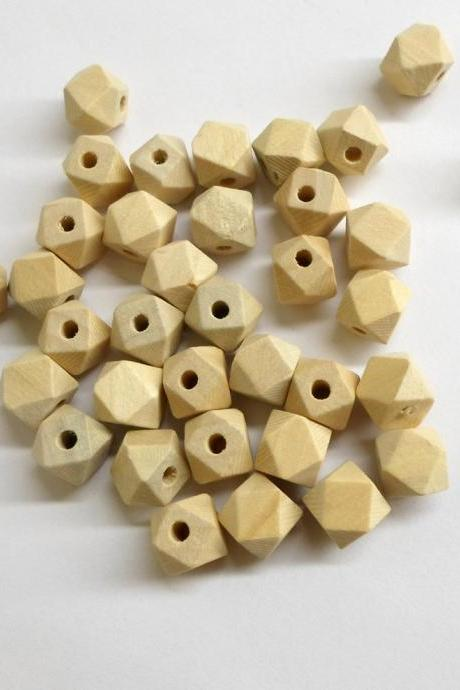 Unfinished faceted small wood beads, 11mm x 10mm (3/8 'x3/8 '), set of 25