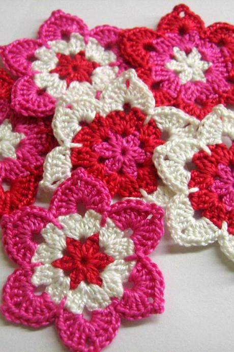 Handmade flower motifs appliques in pink, red and white set of six 2 1/2 inches