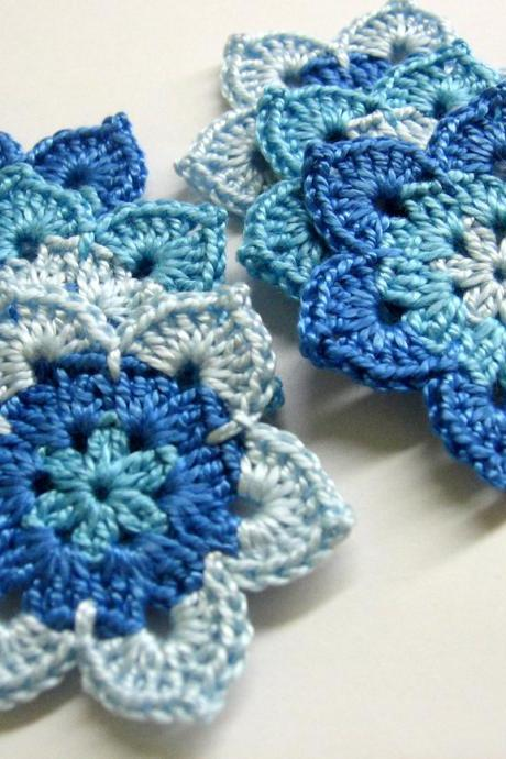 Handmade flower motifs appliques in blue set of six 2 1/2 inches
