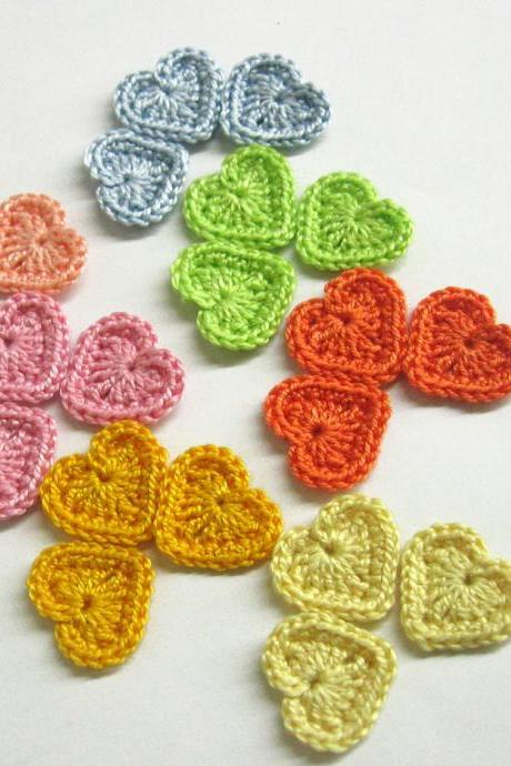 Crocheted tiny hearts 0.8 inches colorful appliques, light pastel set of 21