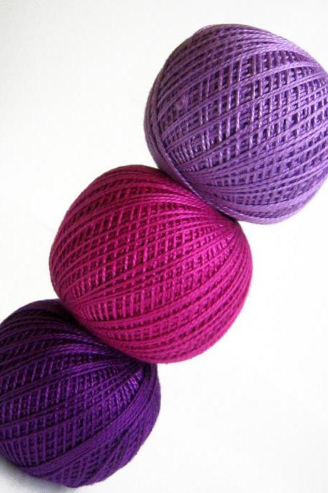 Cotton crochet thread, 3 balls, purple and pink mix, 25 g per ball