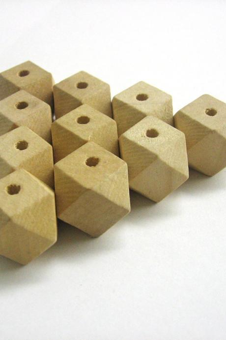 Unfinished faceted large wood beads, 20x26 mm, set of 10