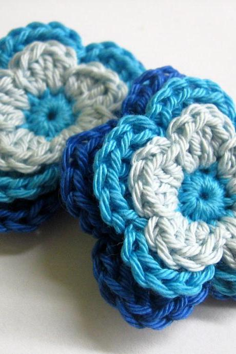Handmade crocheted cotton flower appliques in blue shades, 2 inches, set of 2