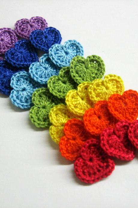 Crocheted tiny hearts 0.8 inches colorful appliques, rainbow set of 21