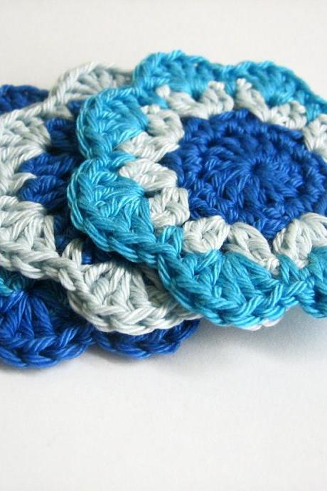 Handmade crocheted flower motif appliques in blue shades 2,5 inches wide