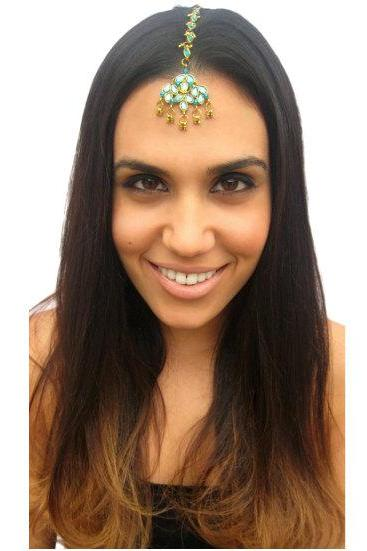 Rouelle RAIN Forehead Piece Tikka in Turquoise, head piece, hair chain, hair piece, head chain