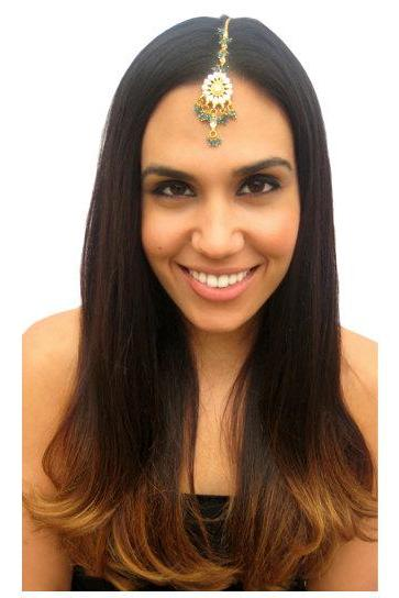 Rouelle NIKKI Forehead Piece Tikka in Blue, head piece, hair chain, hair piece, head chain
