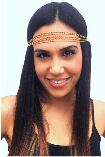 Rouelle IRIS Headpiece: Five Strand Delicate Gold Headband, head piece, hair chain, hair piece, head chain