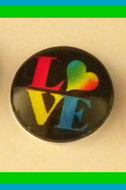 Magnets - Set of 3 - Love and Hearts - 1 Inch Domed Glass Circles - Stocking Stuffer