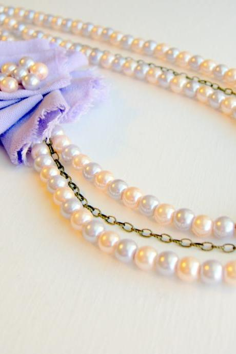 Lavender Flower, Pearls and Chain Necklace